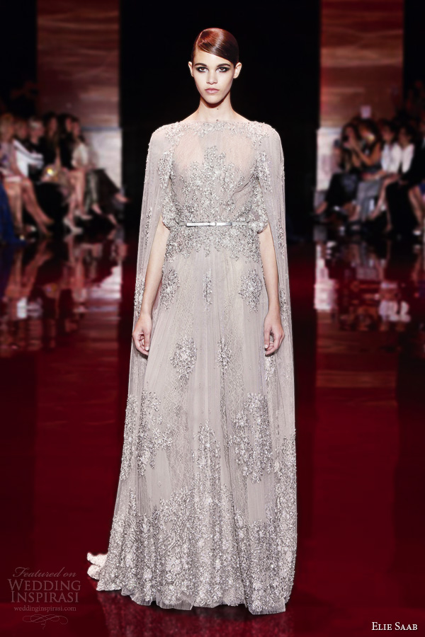 elie saab fall 2013 couture cape wedding gown