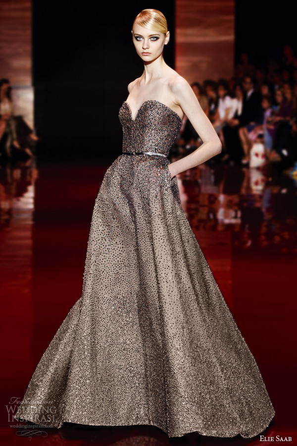 elie saab fall winter 2013 2014 couture strapless gown embellished beaded crystal sweetheart strapless