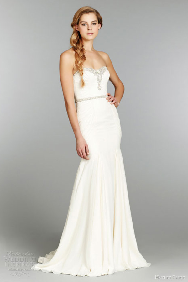 hayley paige fall 2013 fit flare silk georgette wedding dress ruched alabaster crystal embellished belt 6362 strapless