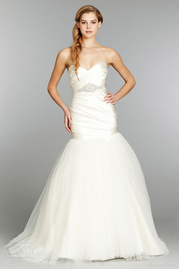 hayley paige fall 2013 strapless fit flare silk satin wedding dress ruched pleated tulle crystal belt 6354