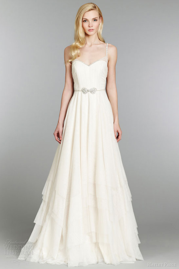 hayley paige fall 2013 wedding dress english net layered a line crystal bow belt natural tulle straps chapel style 6360