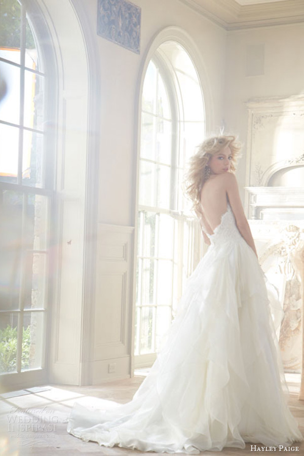 hayley paige fall 2013 wedding dress strapless sweetheart lace silk georgette flounced chapel style 6353