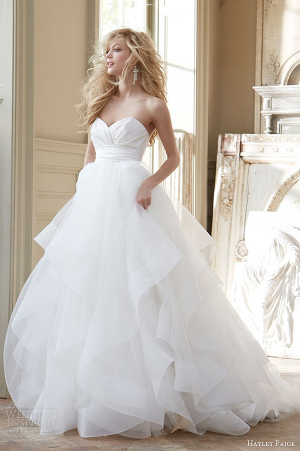 hayley paige wedding dresses fall 2013 strapless ball gown silk crossover bodice tulle skirt horsehair flounces 6358