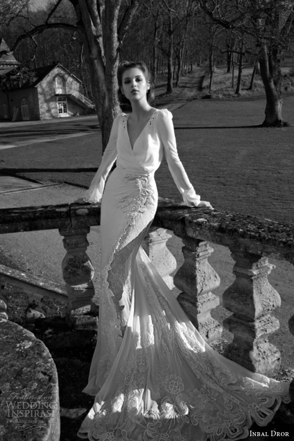 inbal dror 2013 2014 long sleeve wedding dress open back keyhole scalloped lace train v neck surplice