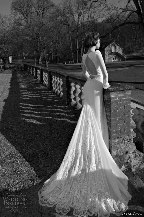 inbal dror 2013 2014 long sleeve wedding dress open back keyhole scalloped lace train