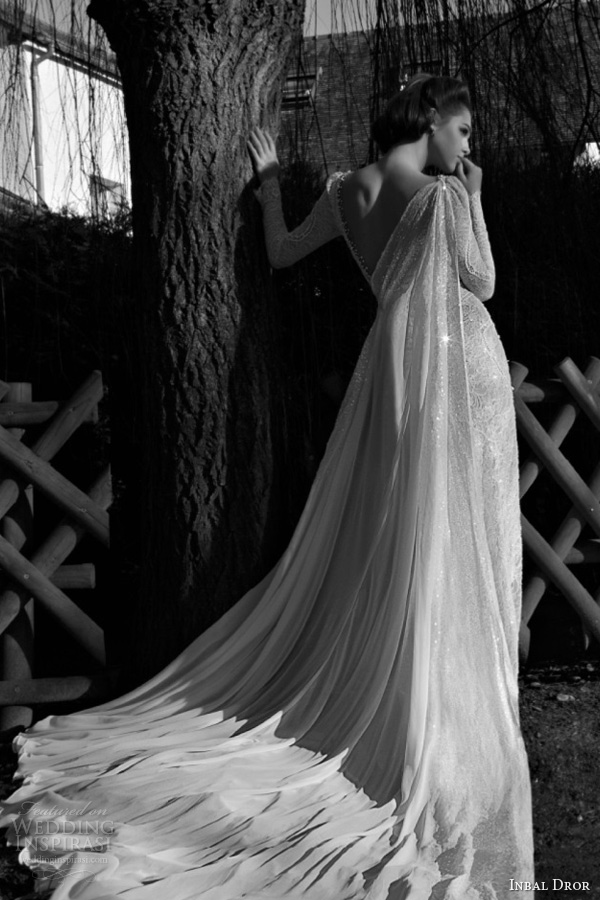 Inbal dror 2013 wedding dresses wedding inspirasi page 3 for Wedding dress with cape train