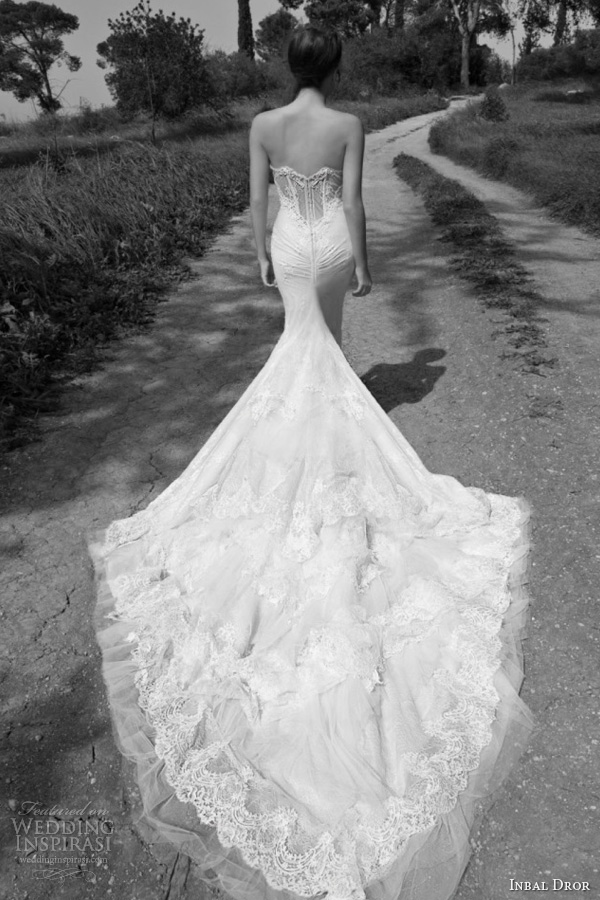 inbal dror 2013 bridal strapless wedding dress lace corset bodice train