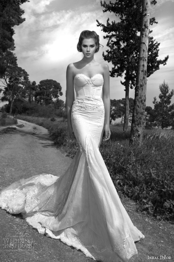 inbal dror 2013 bridal strapless wedding dress lace corset bodice