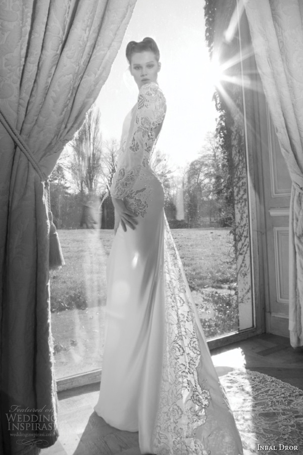 inbal dror 2013 bridal wedding dress long puff sleeve lace guipure train