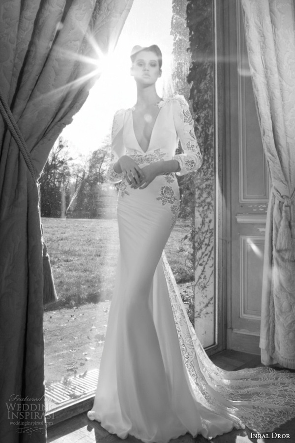 inbal dror 2013 bridal wedding dress long puff sleeve lace guipure