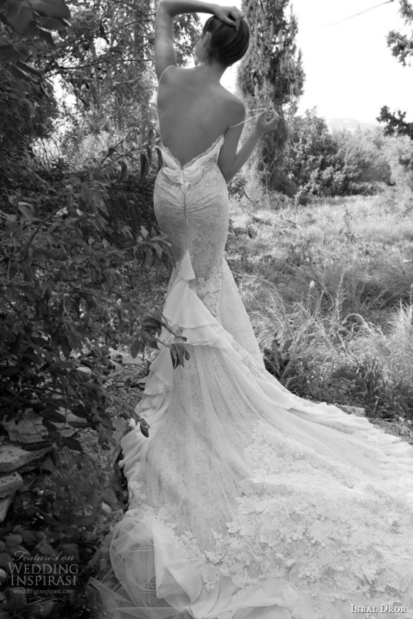 inbal dror 2013 lace wedding dress straps flower applique train