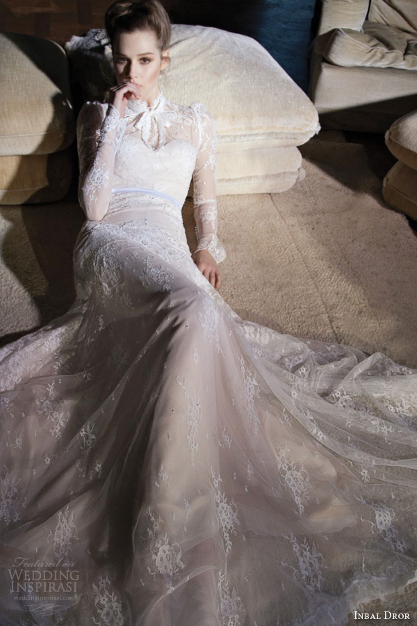 inbal dror 2013 wedding dress long sleeve high neck