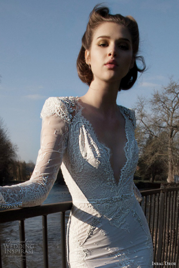 inbal dror bridal 2013 2014 long sleeve lace wedding dress scalloped neckline