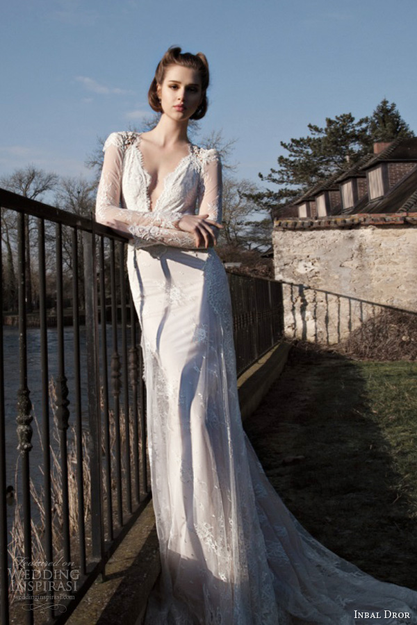 inbal dror bridal 2013 2014 long sleeve lace wedding dress