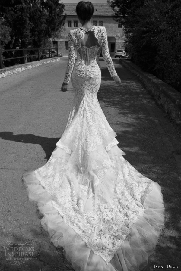 inbal dror bridal 2013 lace gown tiered train long sleeve lace jacket