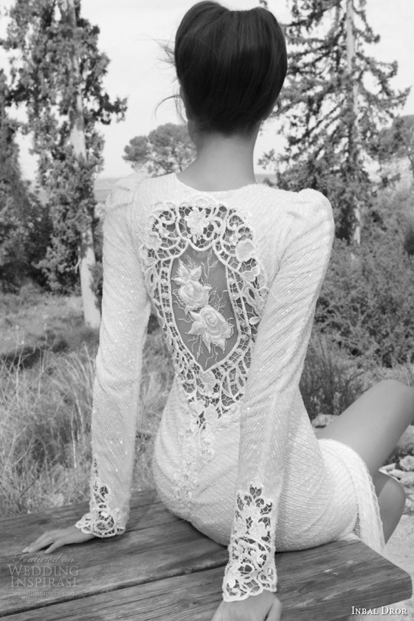 inbal dror bridal 2013 long sleeve wedding dress illusion portrait back