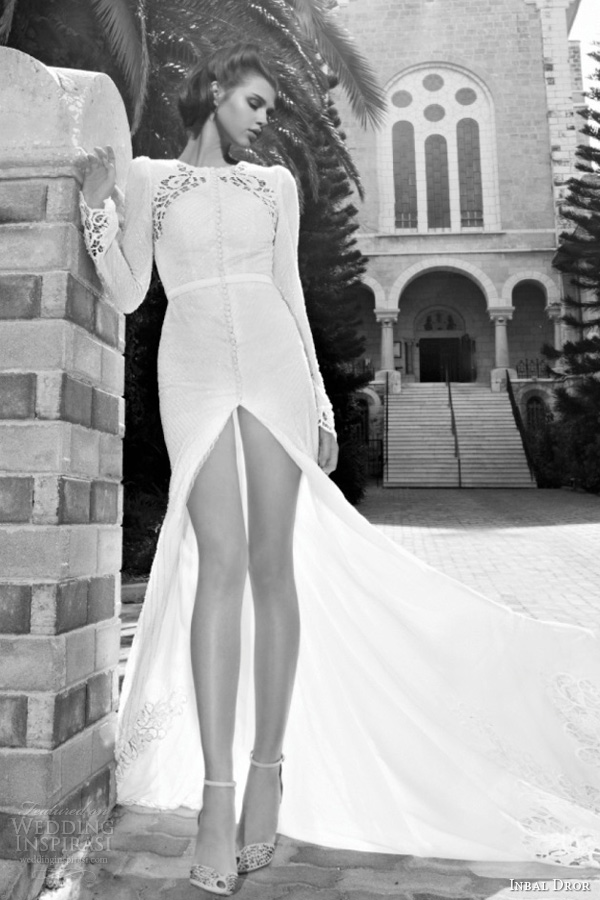 inbal dror bridal 2013 long sleeve wedding dress illusion portrait center slit