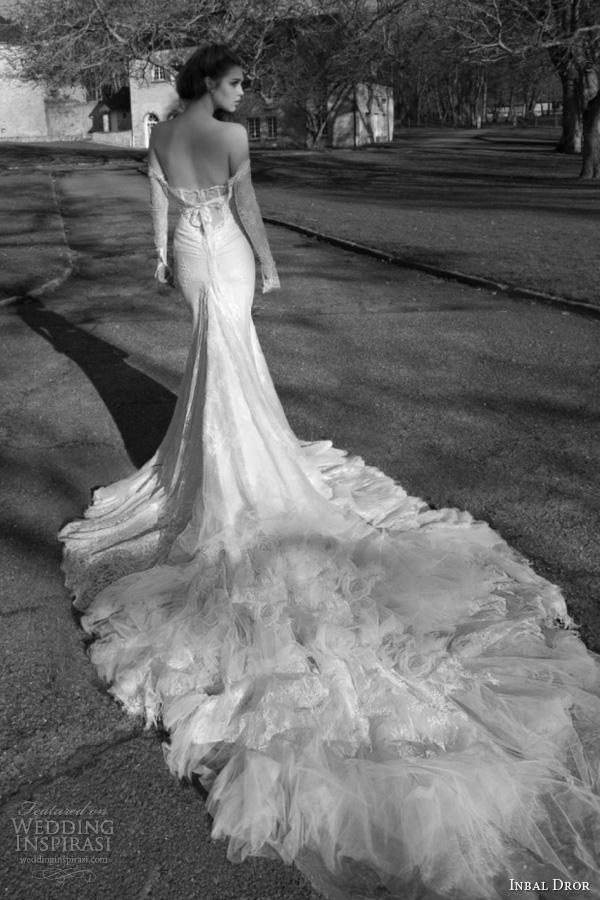 83eca4094307e2 inbal dror wedding dresses 2013 2014 bridal off shoulder long sleeves gown  train foam
