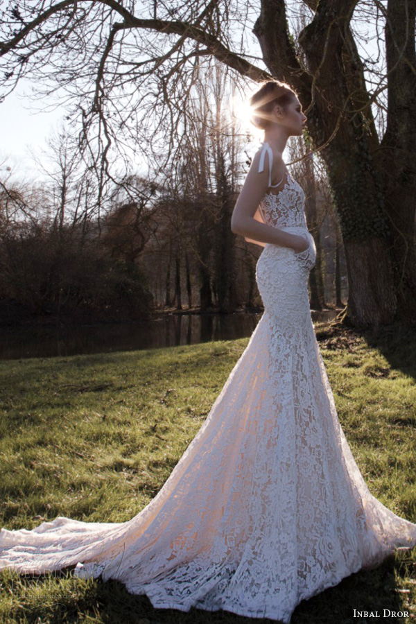 inbal dror wedding dresses 2013 lace v neck gown self tie ribbon straps train