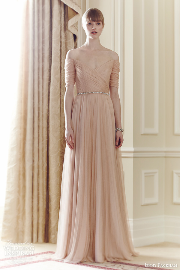 jenny packham 2014 color wedding dress belle magnolia ruched bodice sleeve gown