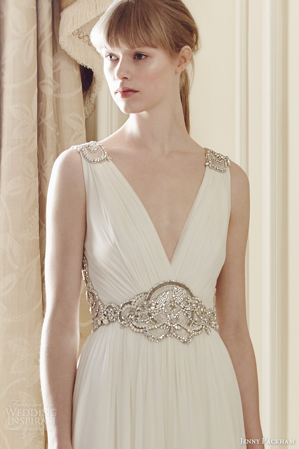 jenny packham bridal 2014 daphne sleeveless draped gown beaded straps waist embellishment close up
