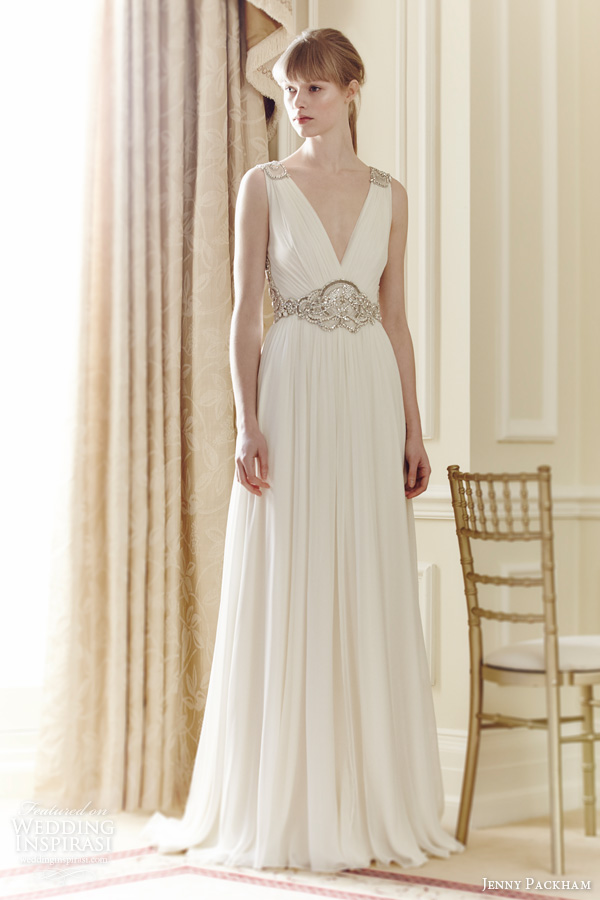 jenny packham bridal 2014 daphne sleeveless draped gown beaded straps waist embellishment