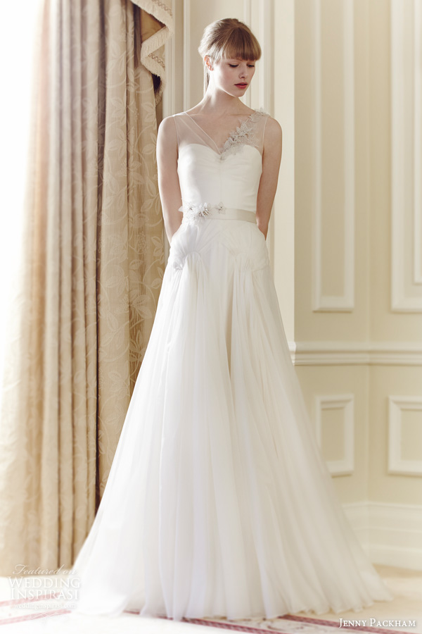 jenny packham bridal 2014 kitty sleeveless illusion straps wedding dress