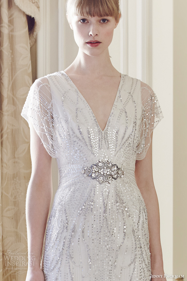 jenny packham spring 2014 florence wedding sleeves beaded sequins bodice close up