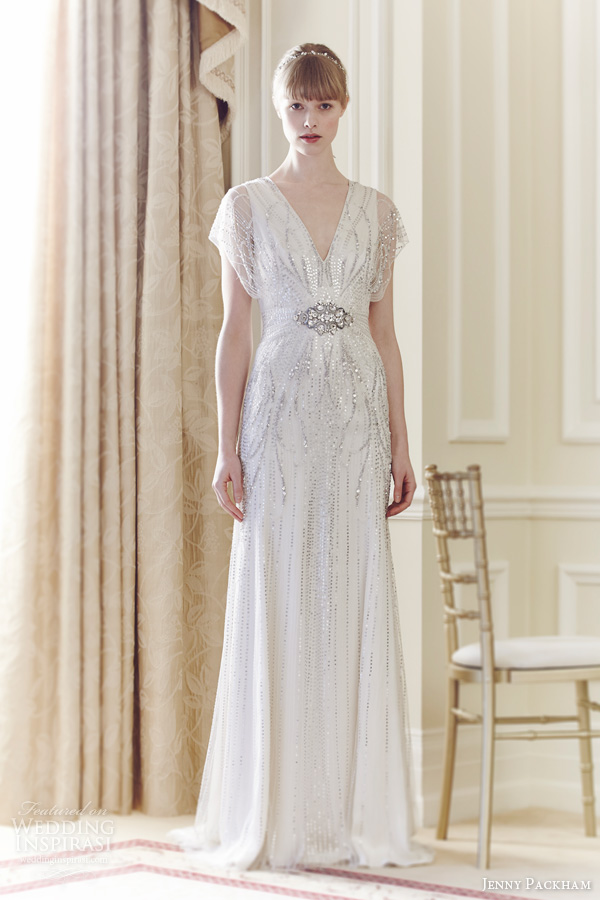 jenny packham spring 2014 florence wedding sleeves beaded