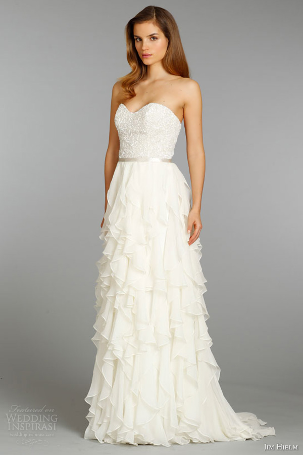 jim hjelm bridal fall 2013 silk georgette a line strapless wedding dress crystal beaded embroidered style 8353