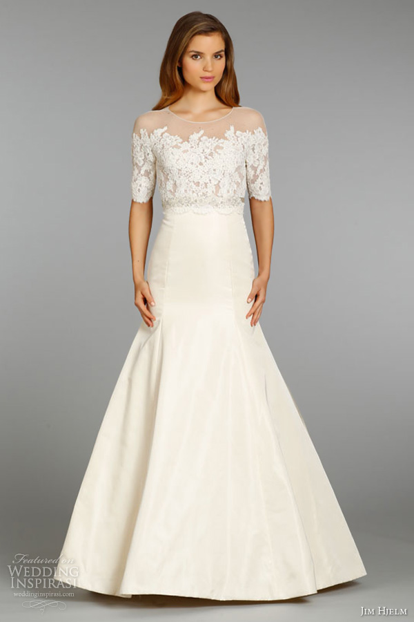 jim hjelm bridal fall 2013 wedding dress silk taffeta trumpet gown alencon lace sheer illusion three quarter sleeves style 8360 full view