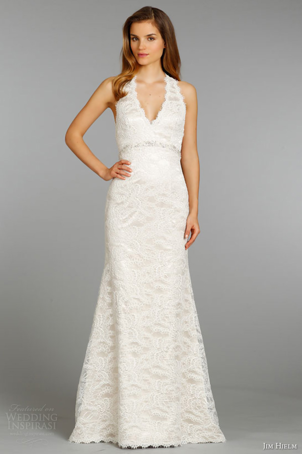 jim hjelm fall 2013 bridal alencon lace charmeuse modified a line wedding dress v halter neckline crystal style 8359