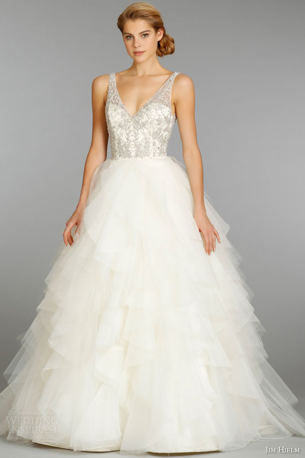 jim hjelm fall 2013 bridal ivory organza ball gown wedding dress crystal embroidered beaded v neck ruffle skirt style 8364