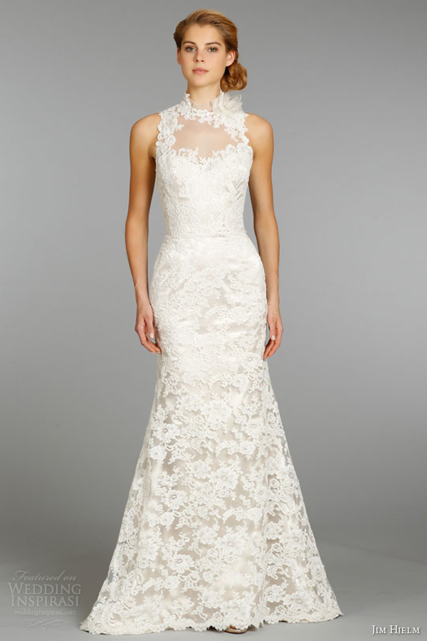 jim hjelm fall 2013 bridal lace charmeuse modified a line wedding dress high illusion neckline accented feather style 8363