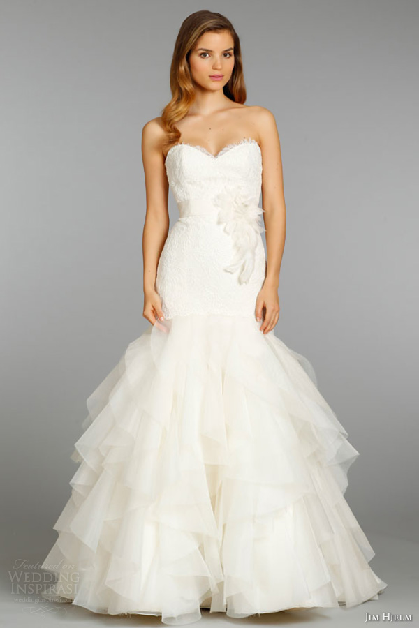jim hjelm fall 2013 bridal silk organza elongated wedding dress strapless alencon lace ruffle skirt style 8356 full view