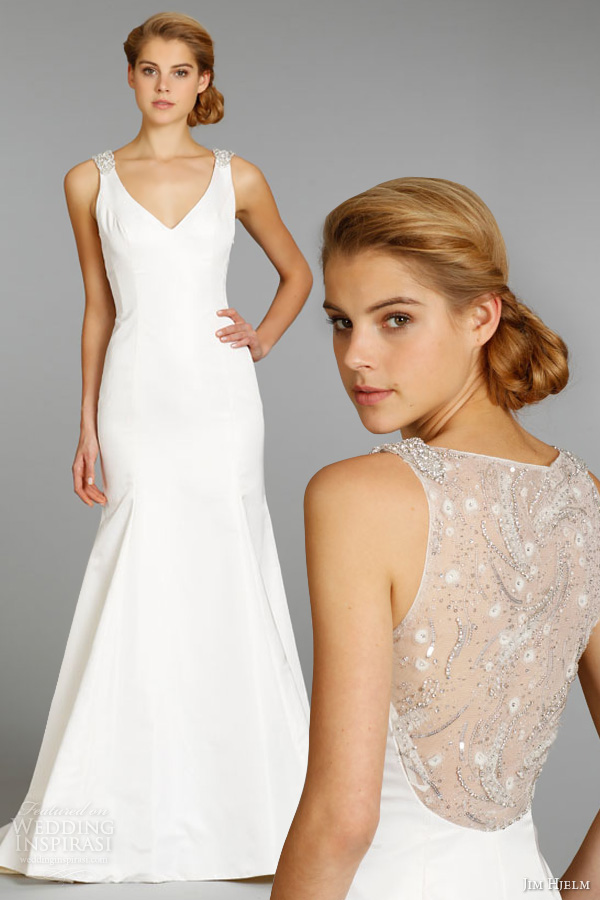 jim hjelm fall 2013 bridal silk taffeta trumpet wedding dress sleeveless v neckline sheer embroidered back style 8361