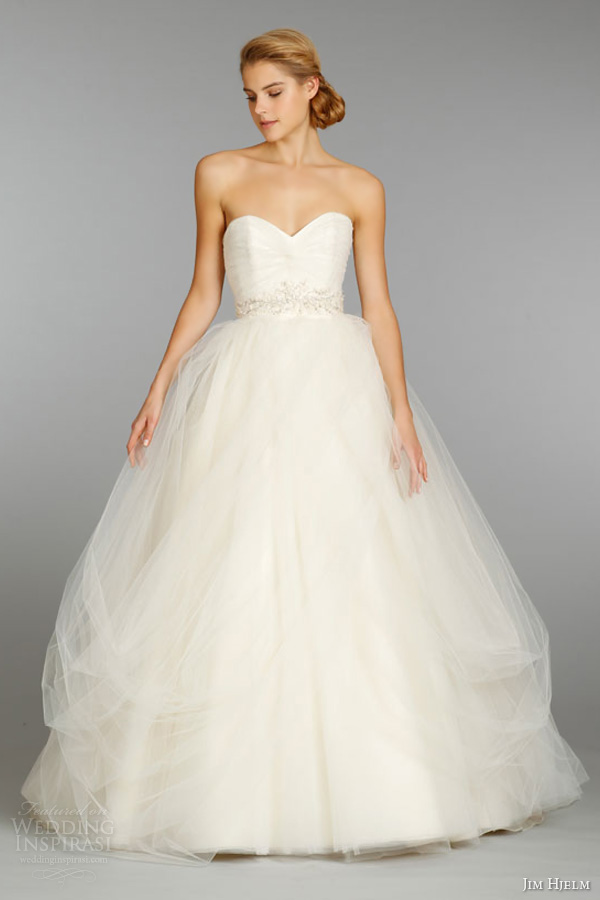 jim hjelm fall 2013 wedding dress tulle strapless ball gown chantilly lace crystal embroidery chapel train style 8351