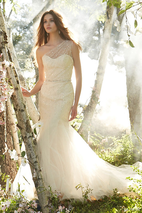 jim hjelm wedding dresses fall 2013 bridal one shoulder crystal embroidered tulle organza fit flare neckline style 8352