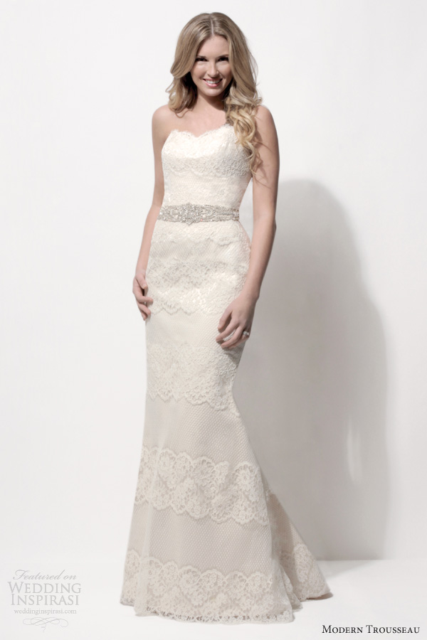 modern trousseau 2014 bridal pia strapless lace wedding dress