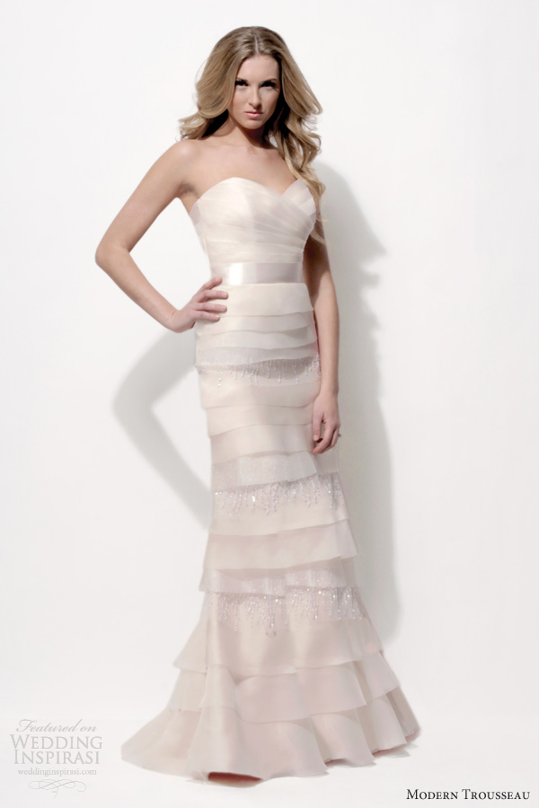 modern trousseau 2014 peony blush tier wedding dress