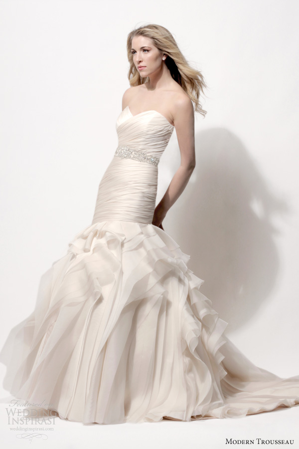 modern trousseau blush wedding dresses spring 2014 tanner strapless sweetheart gown draped bodice skirt