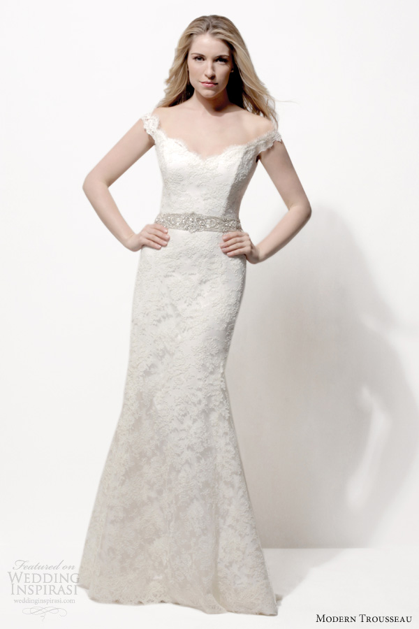 modern trousseau bridal 2014 renny chantilly lace wedding dress off shoulder straps