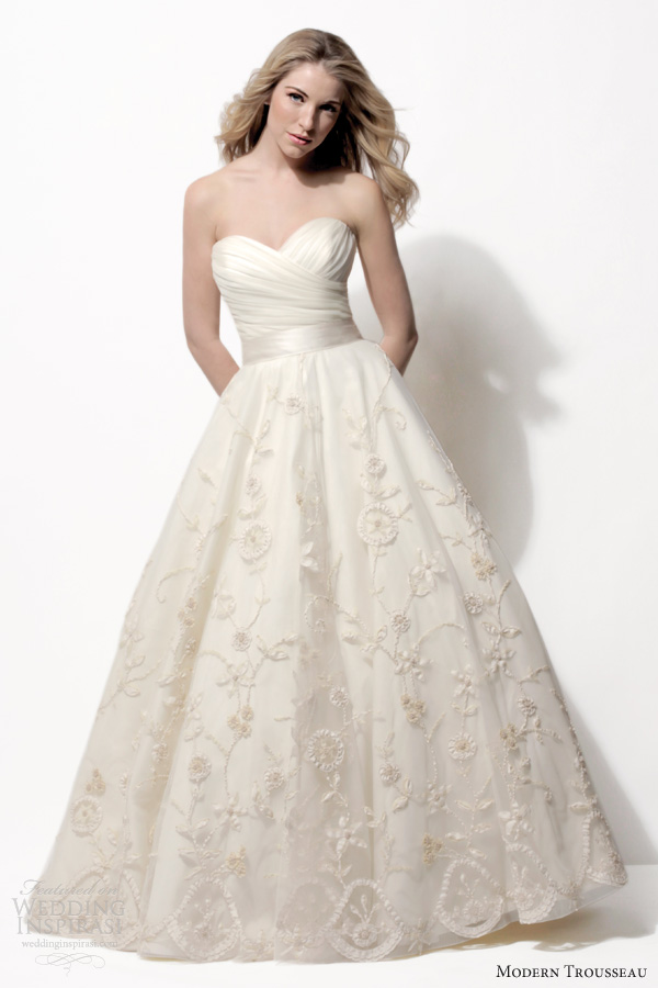modern trousseau bridal spring 2014 lucy strapless wedding dress floral embroidery