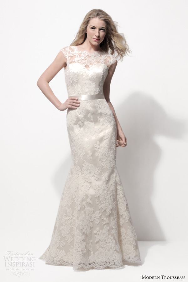 modern trousseau spring 2014 bridal cathryn fit flare cap sleeves dark ivory lace wedidng dress