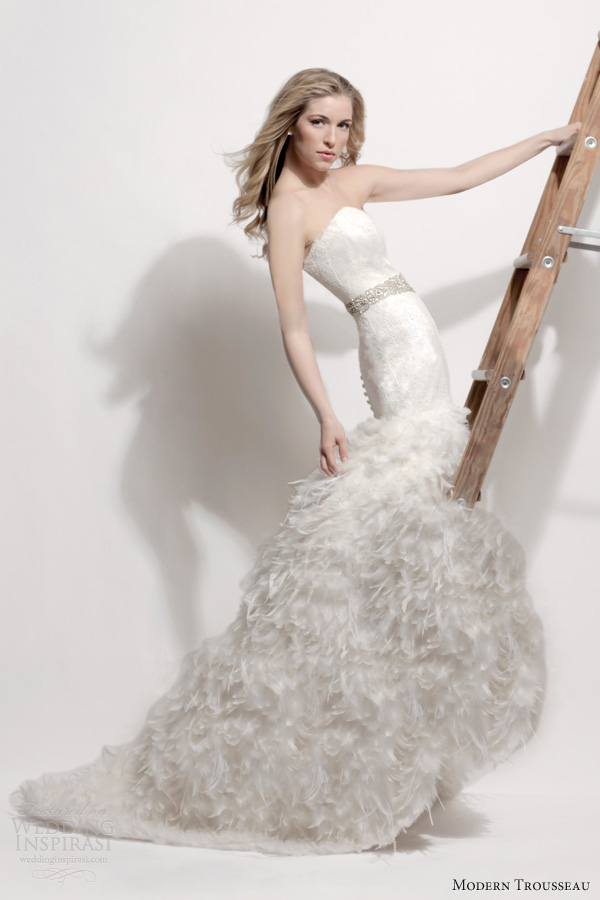 modern trousseau spring 2014 bridal couture swan strapless wedding dress feather skirt