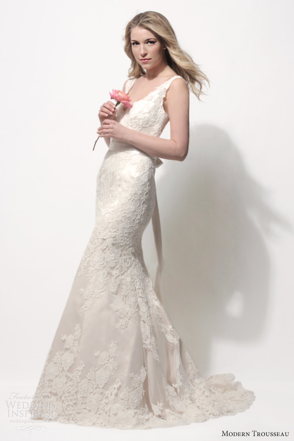 modern trousseau spring 2014 kendall sleeveless lace wedding dress straps shell pink dark ivory