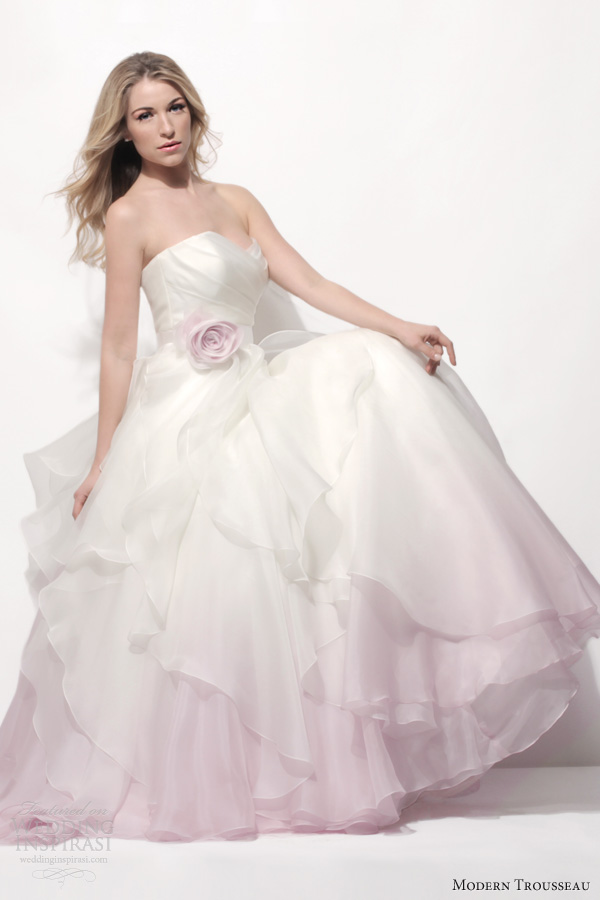 Modern trousseau spring 2014 wedding dresses wedding for Pink ombre wedding dress