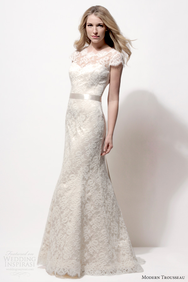 modern trousseau wedding dresses spring 2014 katie lace gown cap sleeves