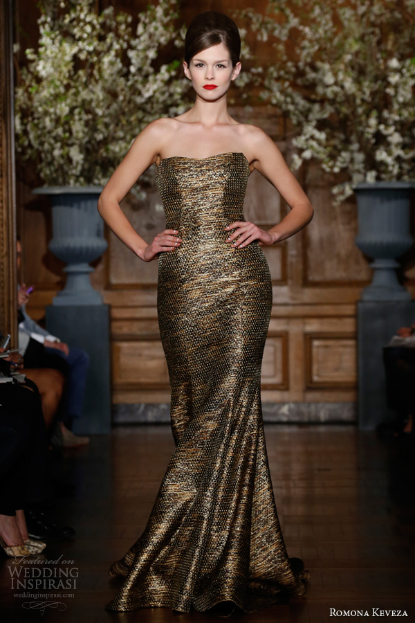 romona keveza fall 2013 2014 rtw antique gold strapless tweed mermaid gown seaming detail style e1353