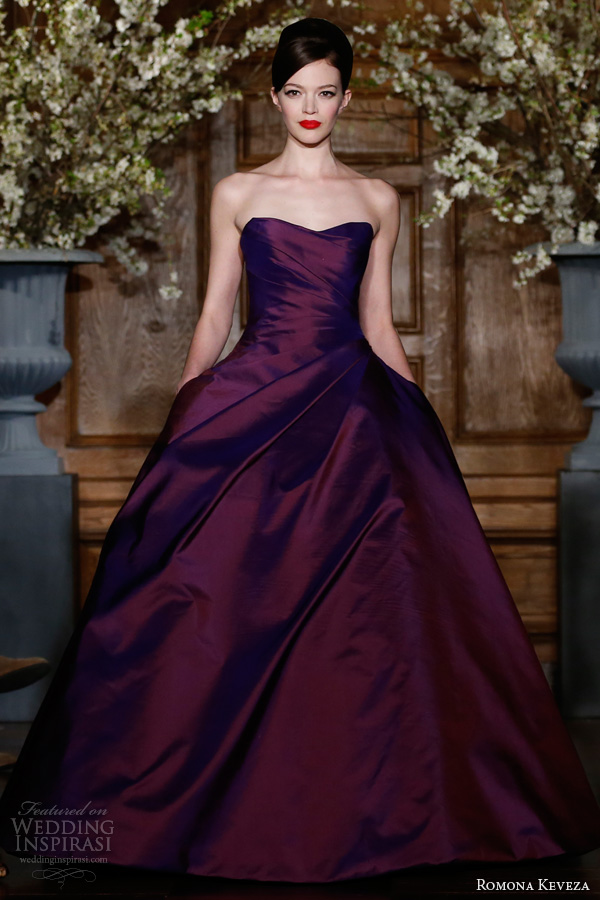 romona keveza fall 2013 ready to wear e1368 amethyst silk shantung taffeta gown